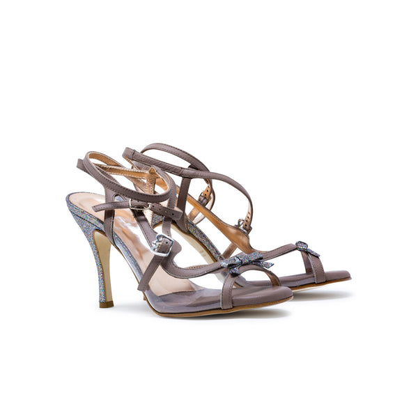 Size 7 - Pigalle in Taupe Leather and Transparent with Glitter- Regina