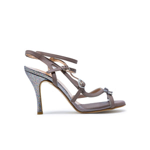 Size 8 - Pigalle in Taupe Leather and Transparent with Glitter- Regina