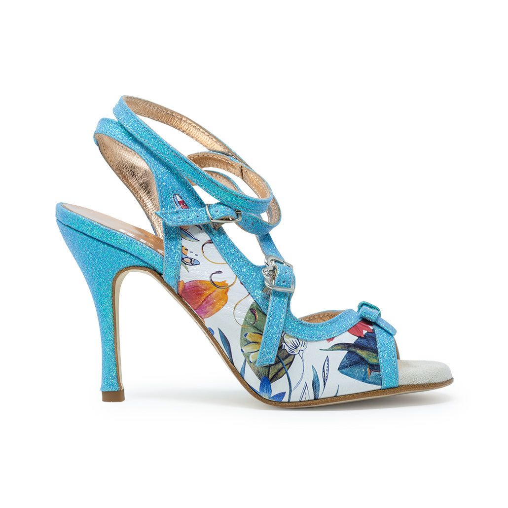 Size 7 - Pigalle in White Floral with Sky Blue Glitter Outlines - Regina