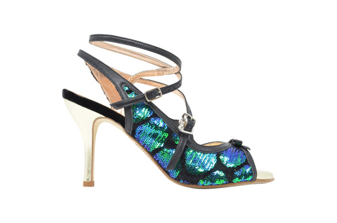 Size 9 - Pigalle in Black Leather with Blue and Green Sequins- Regina