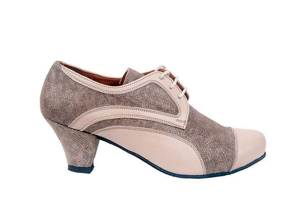 Size 4 - Practice Shoe in Beige Leather with Taupe Shimmer - Yuli-B