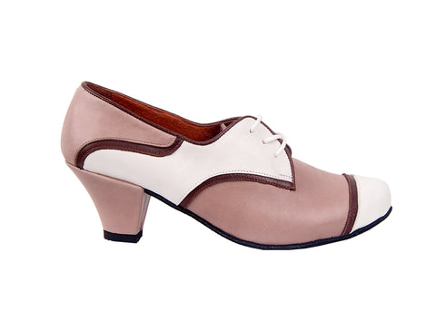 Size 5.5 - Practice Shoe in Taupe, White, and Mahogany - Yuli-B