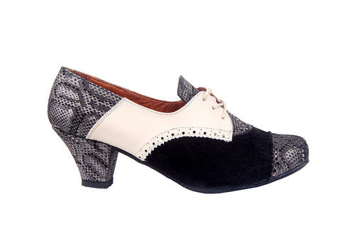 Size 6 - Practice Shoe in Black and White with Snakeskin - Yuli-B