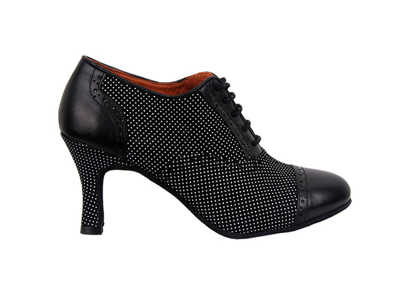 Size 6 - Practice Shoe in Black with Tiny White Polka Dots - Yuli-B