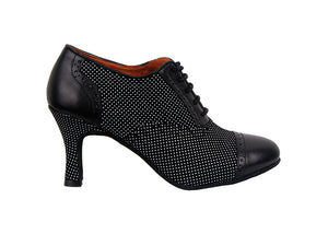 Size 8 - Practice Shoe in Black with Tiny White Polka Dots - Yuli-B