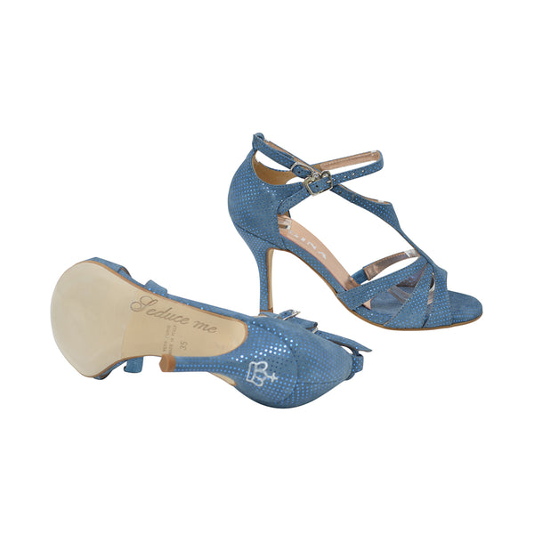 Size 6 - Recoleta in Blue Suede with Laminated Dots - Regina