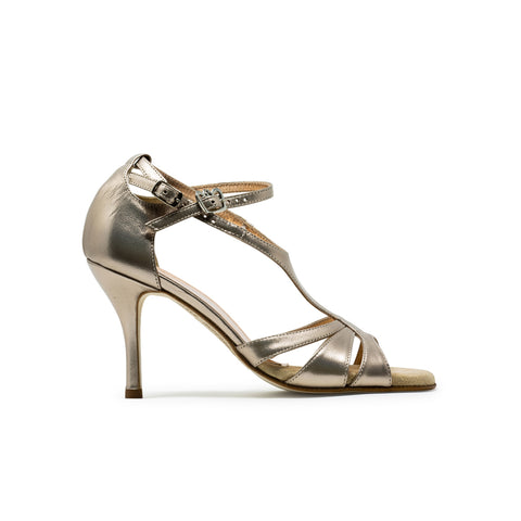 Size 6.5 - Recoleta in 'Eyeshadow' Antique Gold Leather - Regina