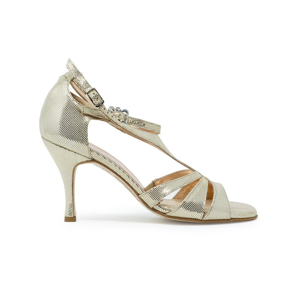 Size 6 - Recoleta in Platinum Gold Lame' Leather - Regina