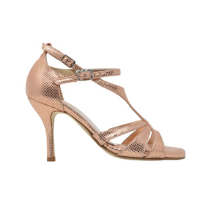 Size 4 - Recoleta in Metallic Salmon with Crosshatch Embossed Pattern - Regina