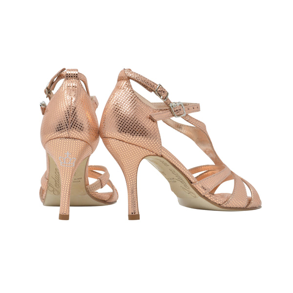 Size 7.5 - Recoleta in Metallic Salmon with Crosshatch Embossed Pattern - Regina