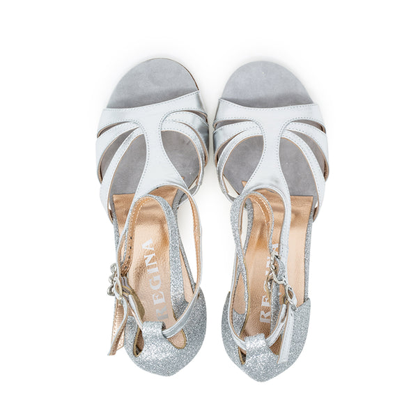 Size 9 - Recoleta in Silver Foil Leather with Silver Glitter - Regina