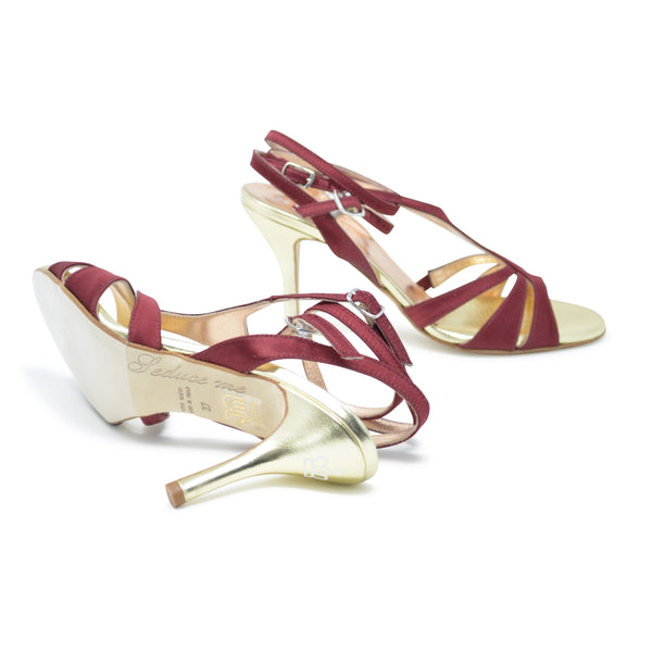 Size 7 - Recoleta Twins in Burgundy and Gold Foil Leather - Regina
