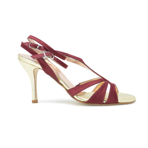 Size 8 - Recoleta Twins in Burgundy and Gold Foil Leather - Regina