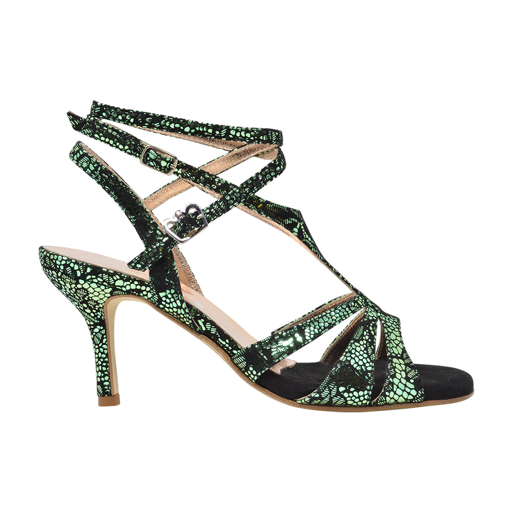 Size 9 - Recoleta Twins in Metallic Emerald City Snakeskin - Regina