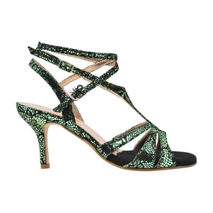 Size 7 - Recoleta Twins in Metallic Emerald City Snakeskin - Regina