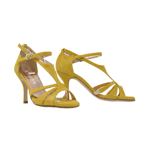 Size 5 - Recoleta in Yellow Suede with Laminated Dots - Regina