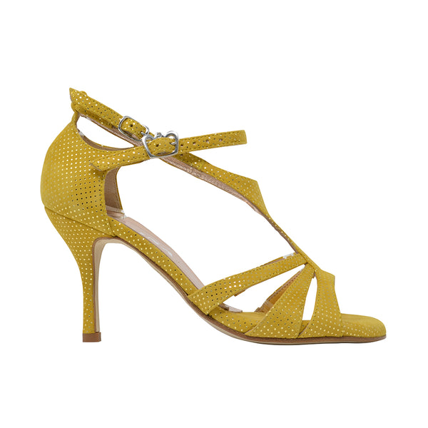 Size 8 - Recoleta in Yellow Suede with Laminated Dots - Regina