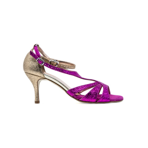 Size 6 - Recoleta in Metallic Crackle Fuchsia and Gold Glitter - Regina
