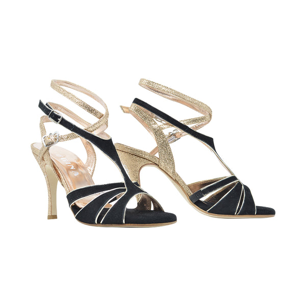 Size 9 - Recoleta Twins in Black Suede with Gold Glitter - Regina