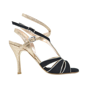 Size 6 - Recoleta Twins in Black Suede with Gold Glitter - Regina
