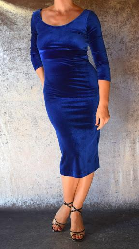 Royal Blue Velvet Long Sleeve Wiggle Dress
