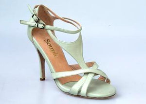 Size 4 -Top in Pale Mint Green Leather - Souple