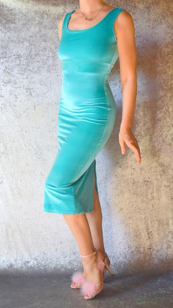 Turquoise Blue Velvet Wiggle Dress - Choose Your Size
