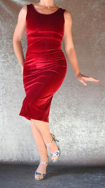 Wine Red Velvet Wiggle Dress - Choose Your Size