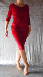 Wine Red Velvet Long Sleeve Wiggle Dress