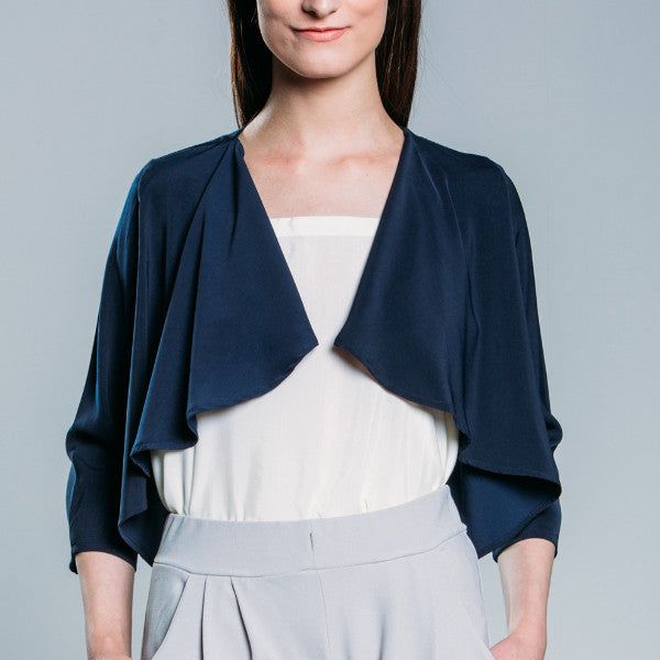Styled Collar Jacket with Pleated Detail