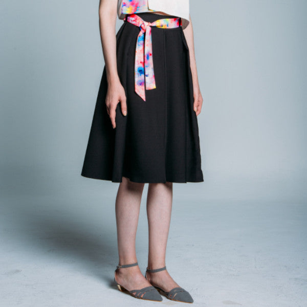 Pleated Detail Flared Skirt with Printed Belt