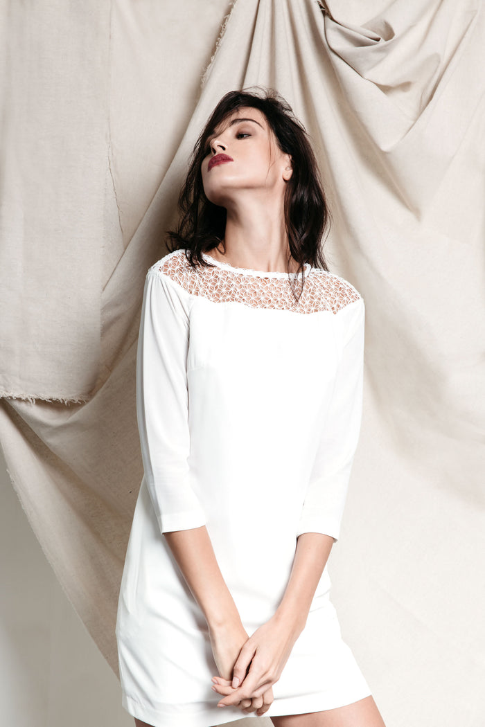 All White Mosaic Dress