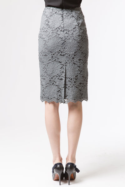 Classic Lace Pencil Skirt - Dove Grey