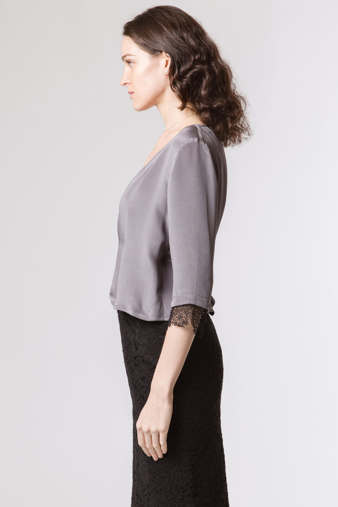 Dove Grey Silk Wrap Blouse