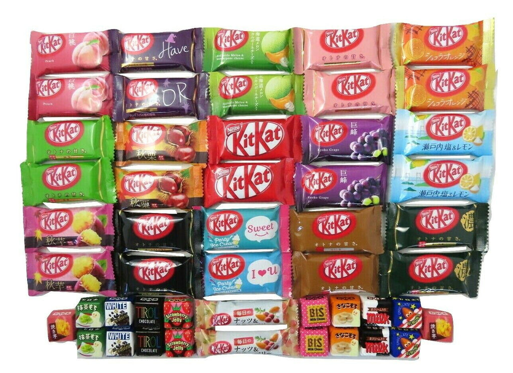 50 chocolates 32 mini kit kat + 18 tirol