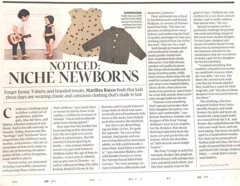 handmade baby clothes globe and mail coverage