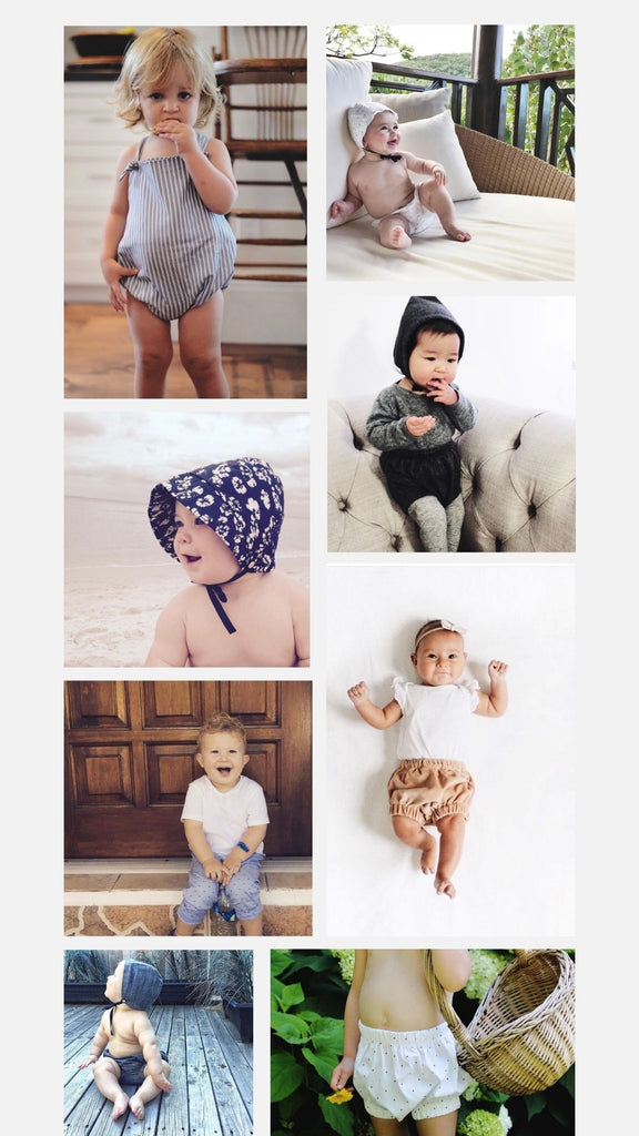 collage of children wearing Petits Genoux clothing