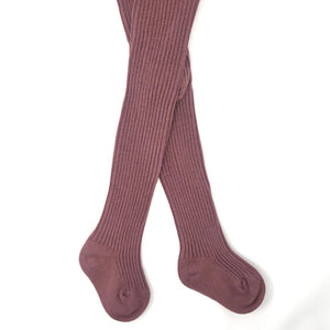 Plum Baby Ribbed Tights