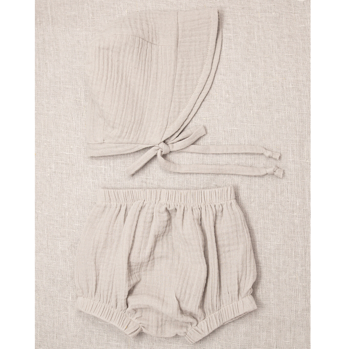 Stone Cotton Gauze Knicker & Bonnet Set