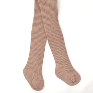Open image in slideshow, Dusty Rose Baby Ribbed Tights
