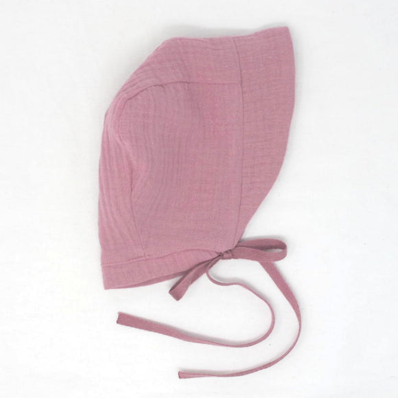 Cotton Gauze Bonnet - Dusty Rose