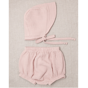 Open image in slideshow, Powder Cotton Gauze Knicker & Bonnet Set