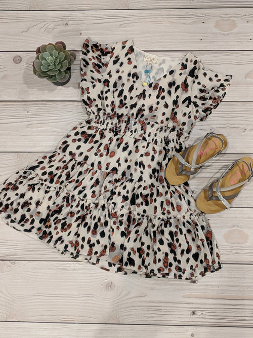 DOTTED SMOCK WAIST RUFFLE DRESS