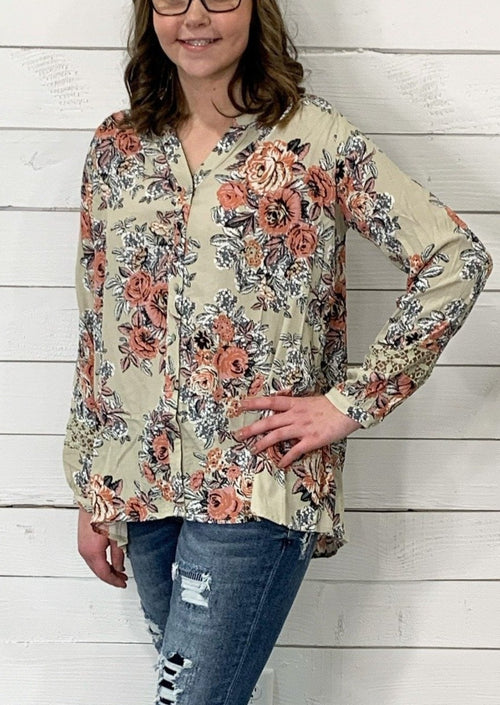 FLORAL BUTTON DOWN SHIRT WITH LONG SLEEVES AND SHEER CROCHET LACE T-BACK