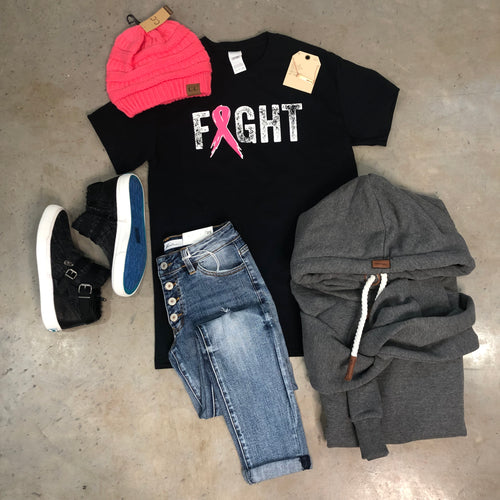 FIGHT BREAST CANCER BLACK GRAPHIC TEE