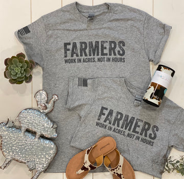 FARMERS WORK IN ACRES NOT HOURS GRAPHIC TEE