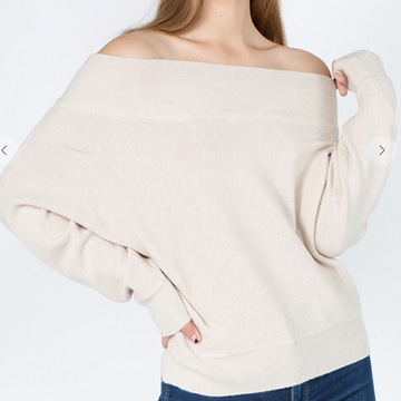 OFF THE SHOUDLER SWEATER MULTIPLE COLOR OPTIONS