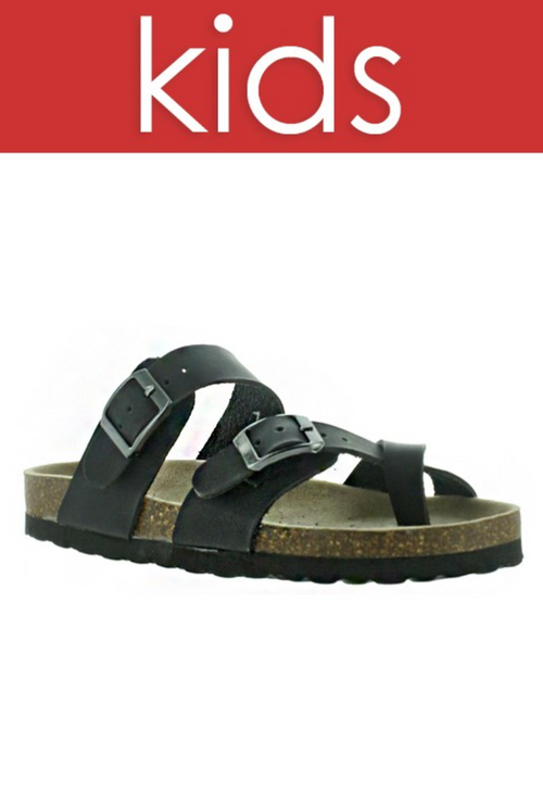 GIRLS Black Birk Type Criss Cross Sandal