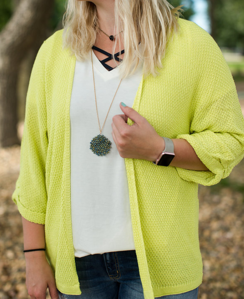 LIME LIGHT WEIGHT DOLMAN SLEEVE OPEN FRONT CARDIGAN KNIT
