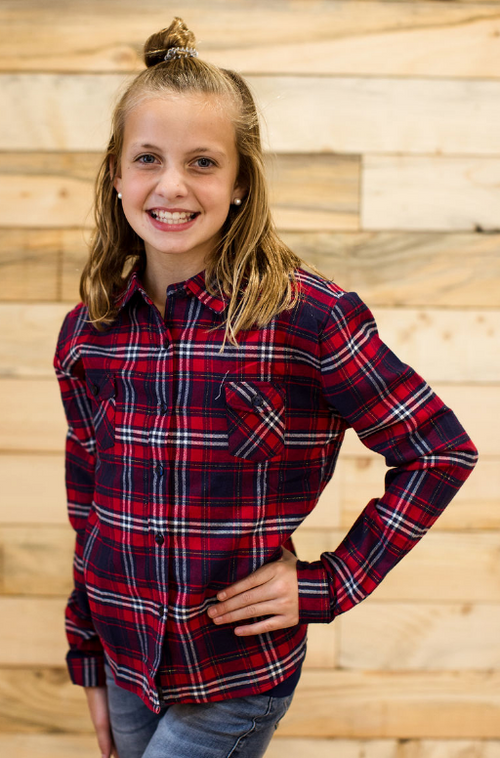 GIRLS PLAID FLANNEL SHIRT WITH DOUBLE POCKETS
